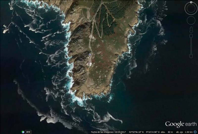 Cabo de Fisterra Imagen Google Earth (27-02-2018)