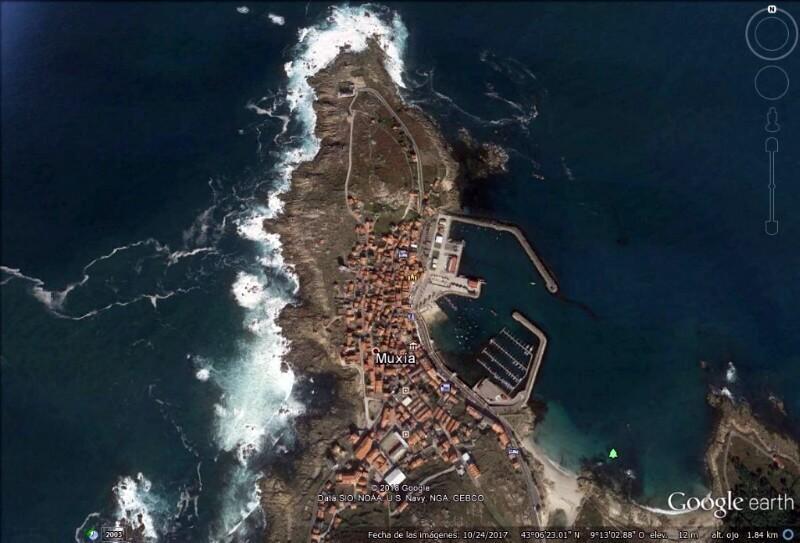 Cabo de Touriñán y Muxía (Google Earth 27-02-2018)
