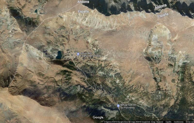 Estanys de la Pera (Google earth 2018-03-30)