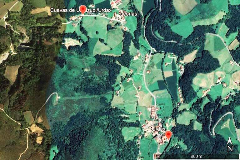 Monasterio de Urdax y Cuevas de Ikaburua (Google earth 2020-04-11)