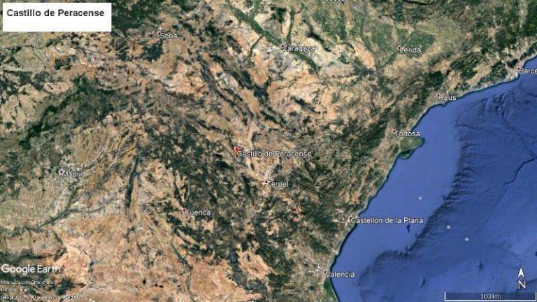 Castillo de Peracense Mapa situació (Google earth 2018-06-06)