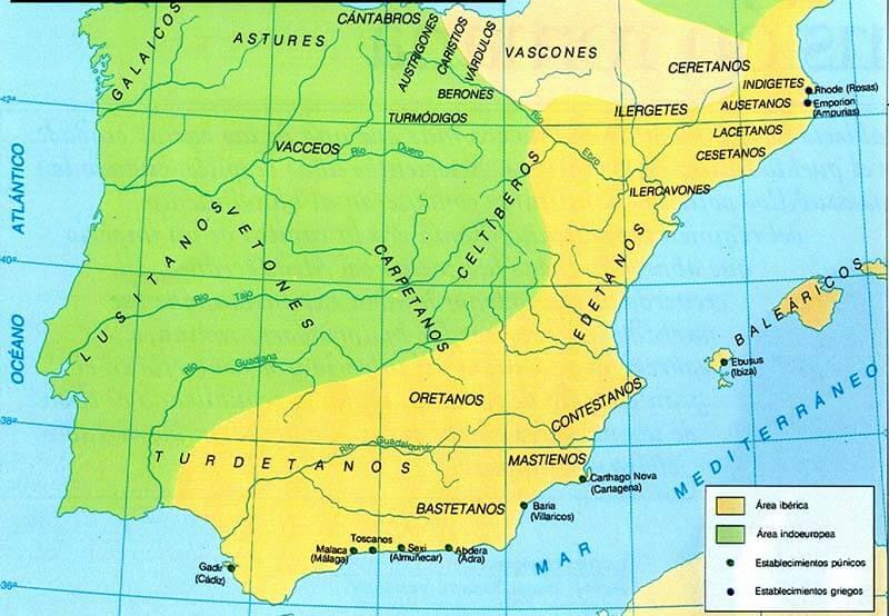 Distribución de las tribus iberas
