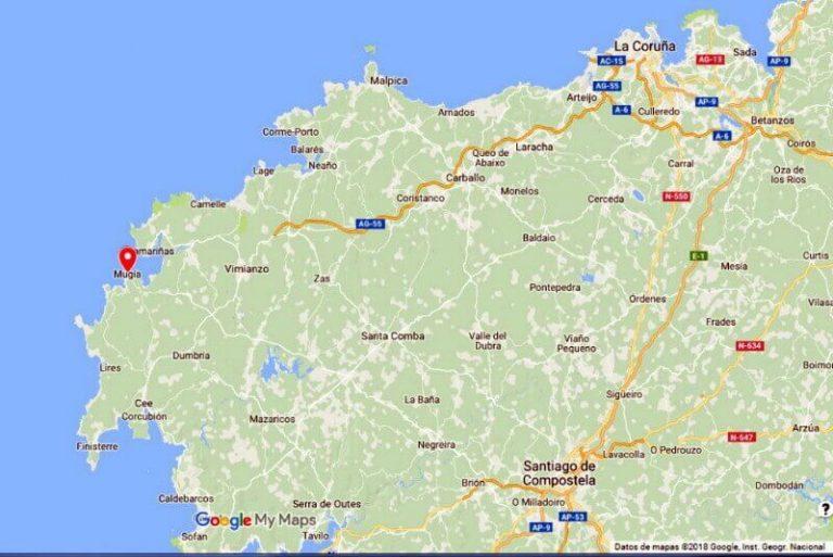 Mapa de Situación de Muxía (Google maps 27-02-2018)