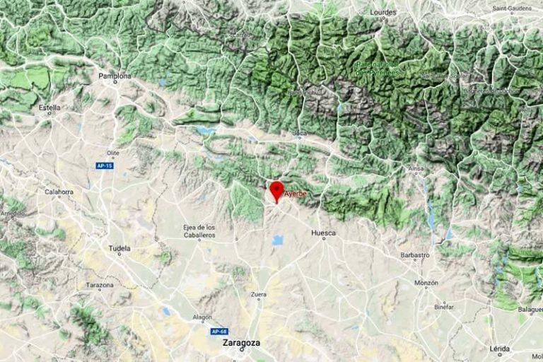 Mapa de situación de Ayerbe (Google maps 2019-06-24)