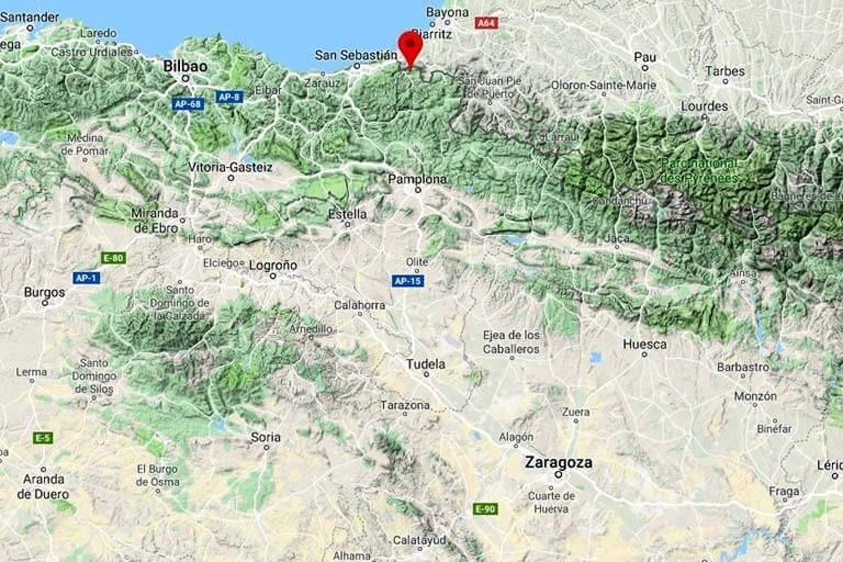 Mapa de situación de Bera (Google maps 2019-09-13)