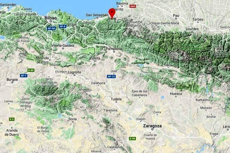 Mapa de situación de Bera Navarra(Google-maps-2019-09-13)