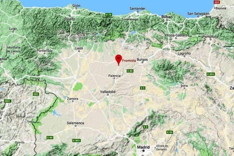 Mapa de situación de Fromista (Google maps 2018-12-16)