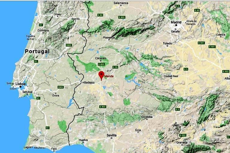 Mapa de situación de Mérida (Google maps 2019-11-05)