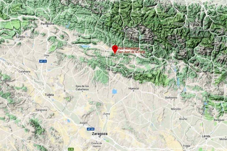 Mapa de situación de los Monasterios de San Juan de la Peña (Google maps 2019-01-19)