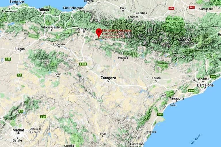 Mapa de situacion del Monasterio de Leyre (Google maps 2019-09-22)
