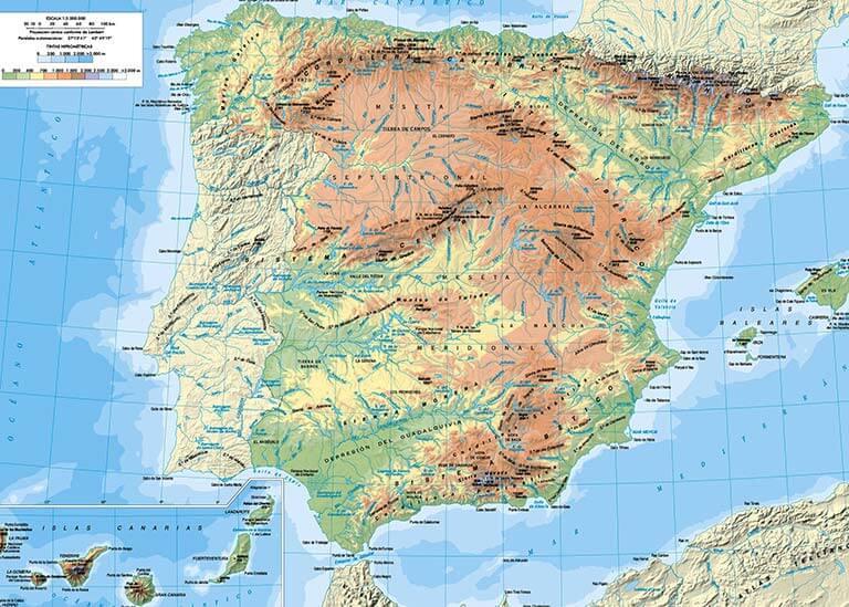 Mapa fisico de Espana IGN