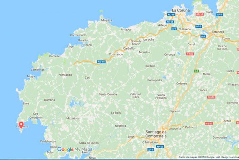 apa de situación Faro de Fisterra (Google maps 27-02-2018-