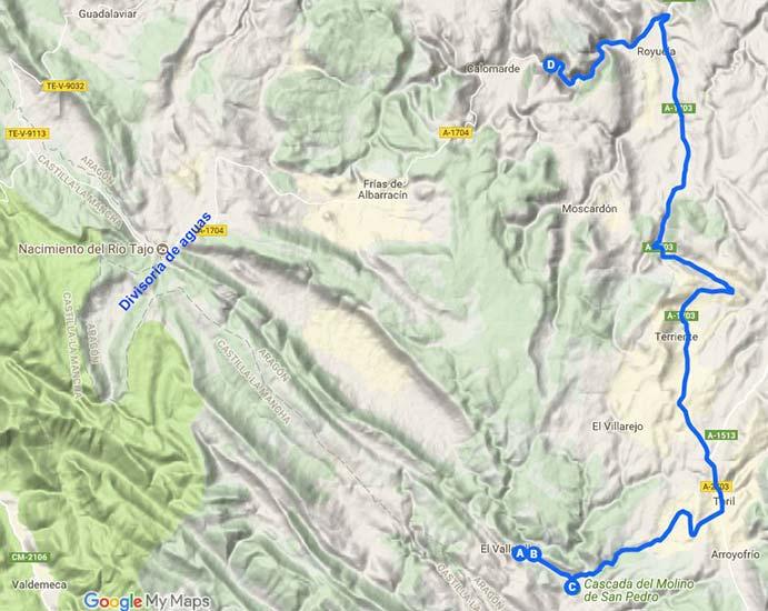 Ruta Parajes de agua Sierra de Albarracin