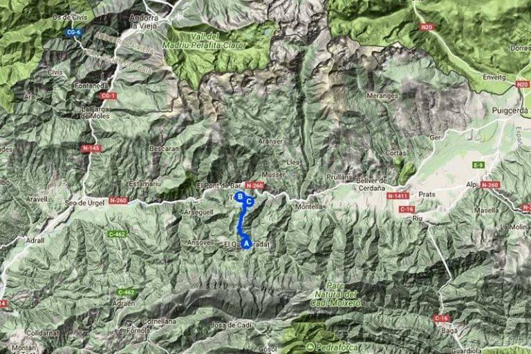 Ruta Querforadat-Toloriu-Bar (Google-maps-2018-07-16)