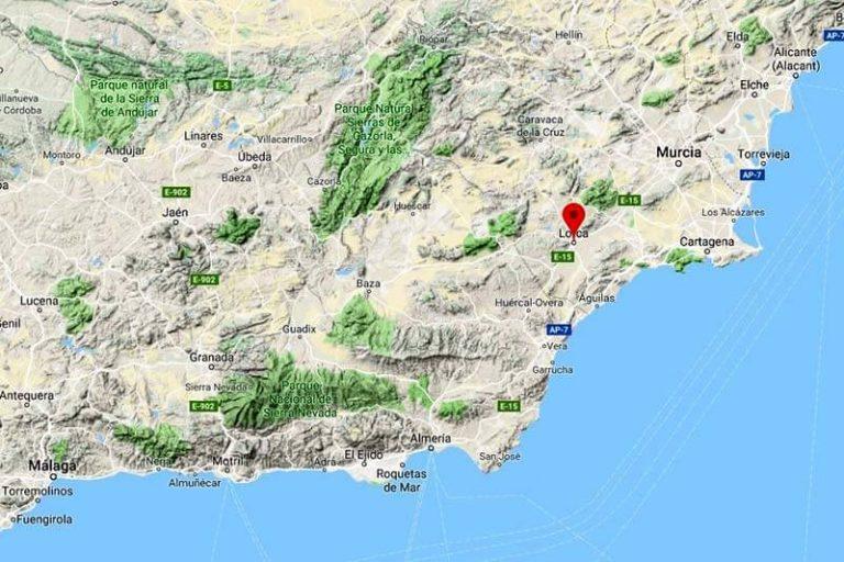 Situación del Castillo de Lorca(Google maps 2019-04-17)