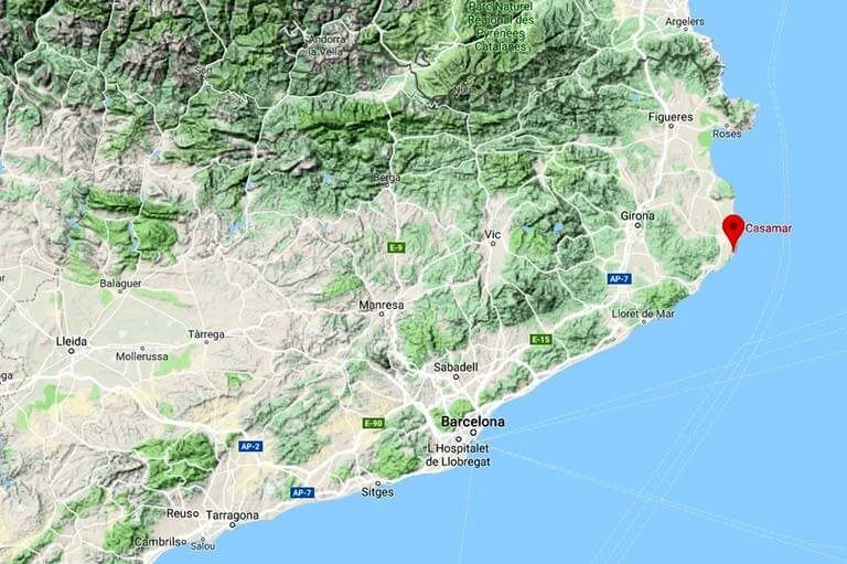 Mapa de situació de l'Hotel Casamar (Google maps 2019-10-06)