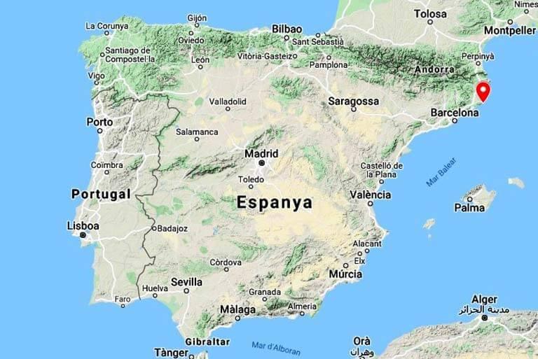 Mapa de situació de St Feliu de Guixols, Girona (Google maps 2021-03-05)