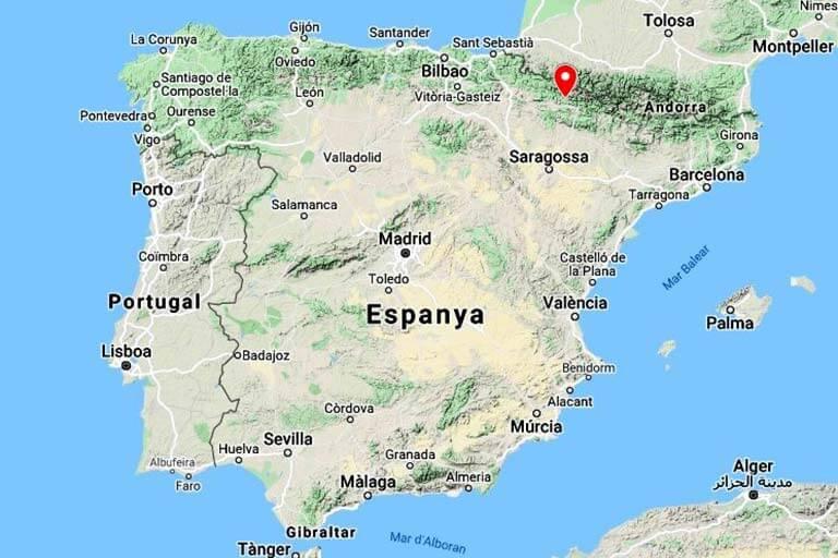 Mapa de situación San Adrian de Sasabe, Huesca (Google maps 2021-01-07)