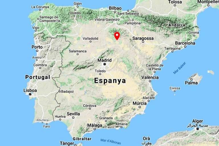 Mapa de situació de Calatañazor (Google maps 2021-07-19)