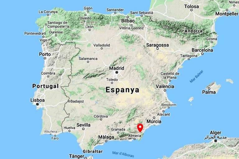 Mapa de localitzacio de Lubrin Sorbas (Googe maps 2020-09-21)