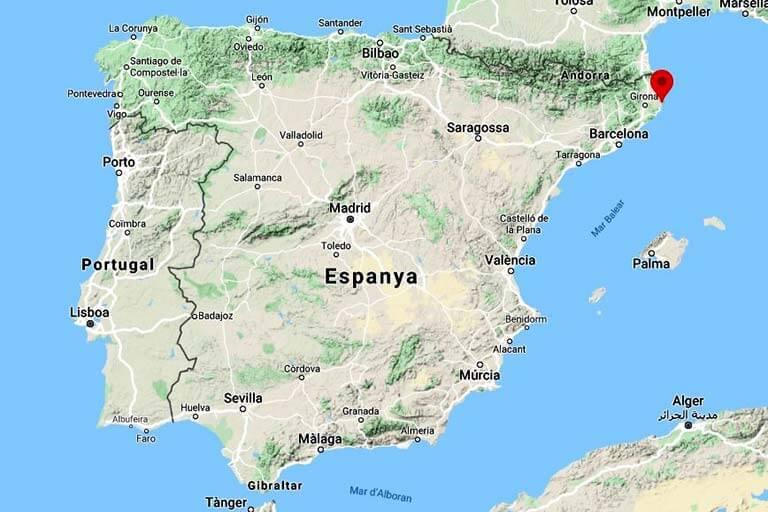 Mapa de situació de Begur (Google-maps-2020-04-19)