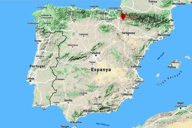 Mapa de situacion de Sanguesa (Google maps 2020-05-25)