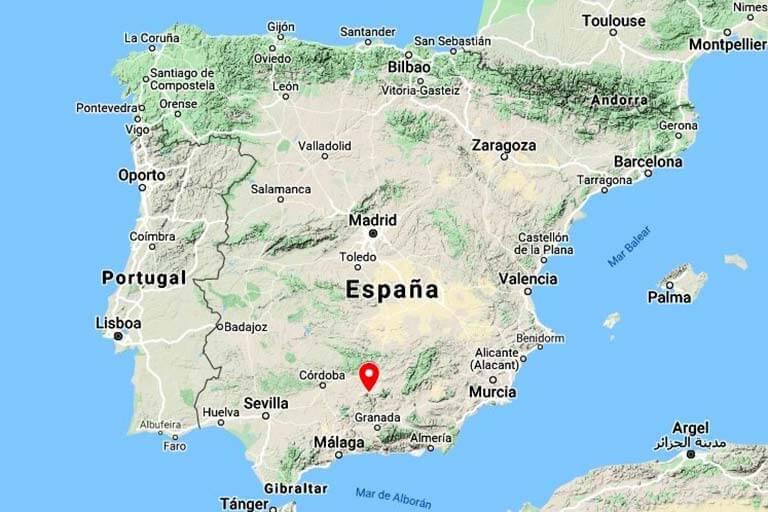 Mapa de situación del Castillo de Santa Catalina, Jaen (Google maps 2020-08-20)