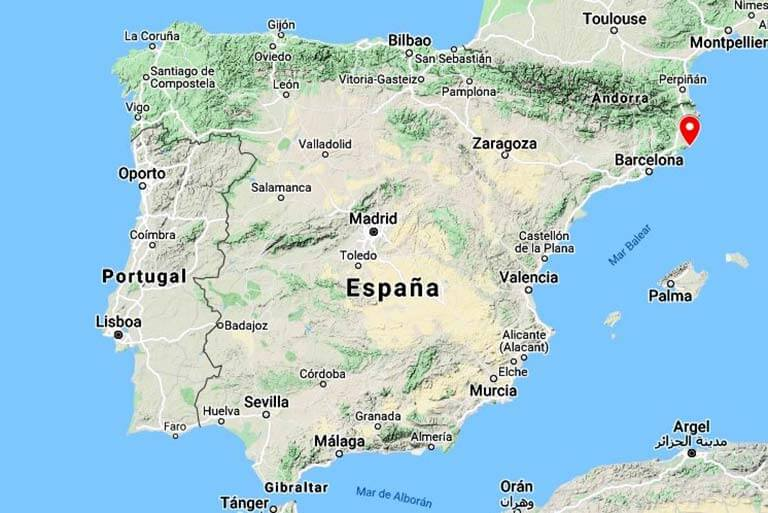 Mapa de situación de St Feliu de Guixols, Girona (Google maps 2021-03-05)