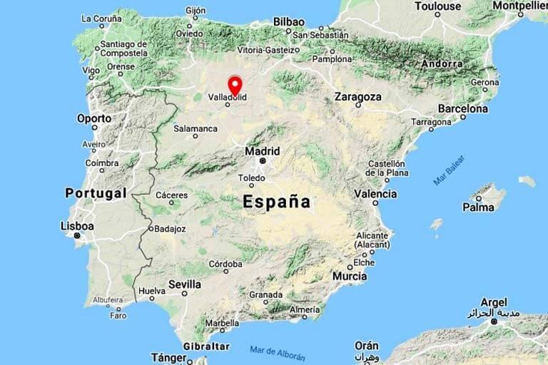 Mapa situación Valoria la Buena, Valladolid (Google maps 2021-06-24)