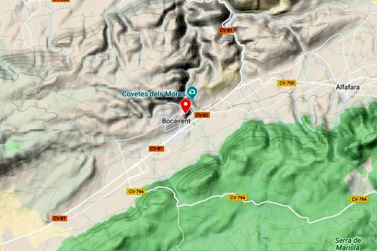 Bocairent orografia (Google maps 2020-02-19)