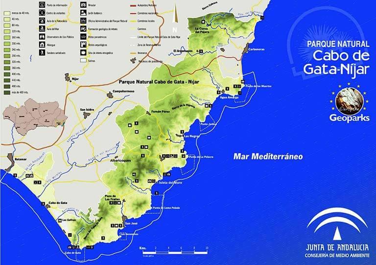 Cabo de Gata Mapa del Parque