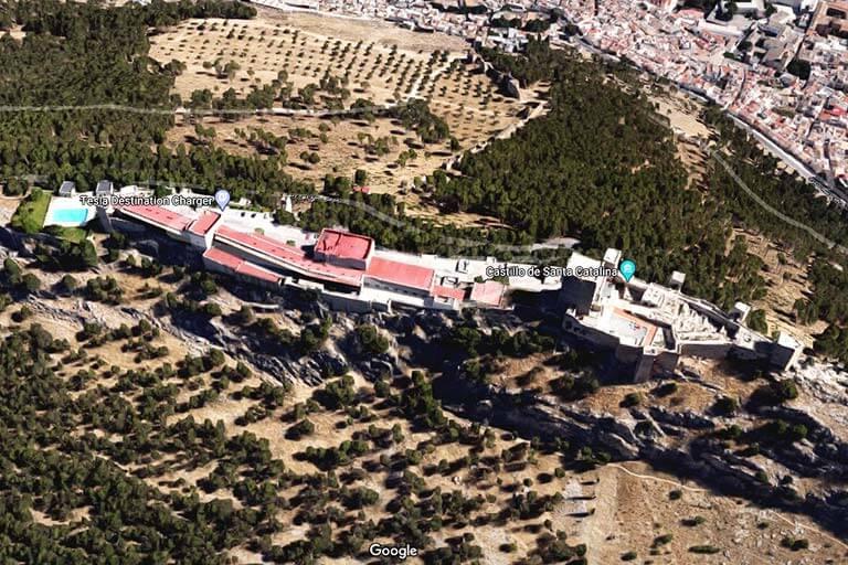 Castillo de Santa Catalina, Jaen Vista sobre la cara sur (Google maps 2020-08-20)