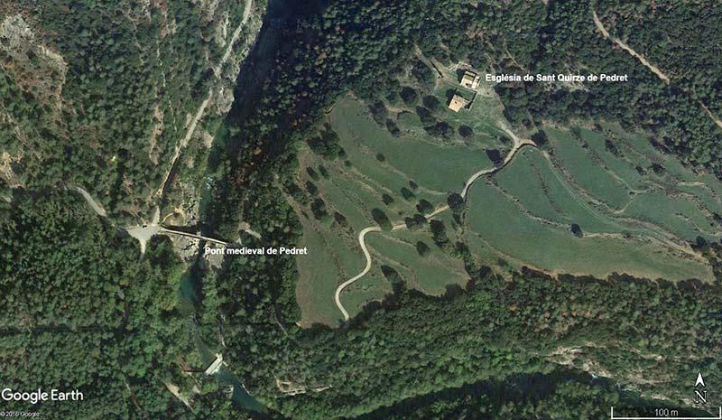 Església de Sant Quirze de Pedret (Google-earth-2018-08-09)