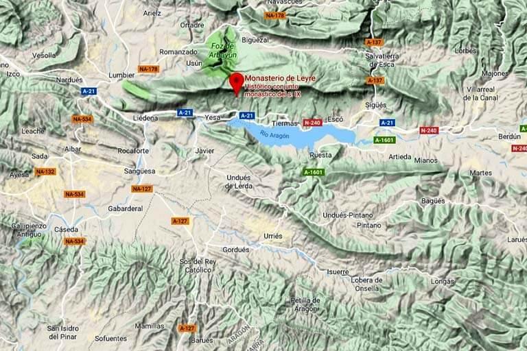 Localización del Monasterio de Leyre (Google maps 2019-09-23)