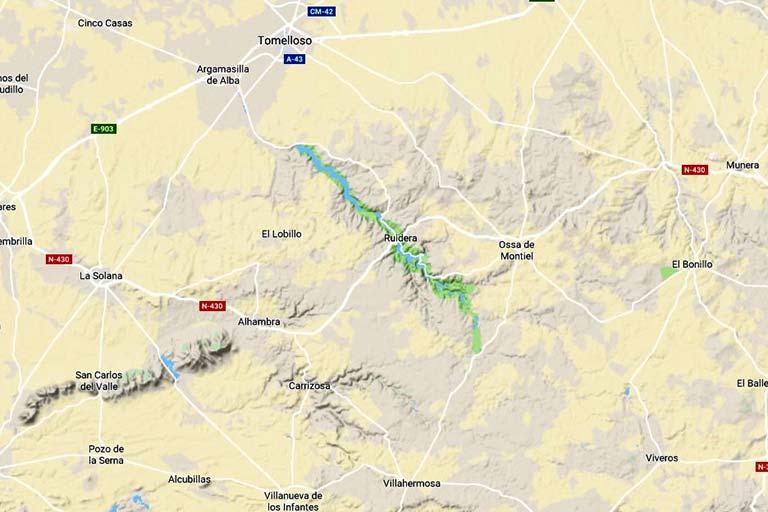 Mapa Lagunas de Ruidera(Google maps 2019-09-28)