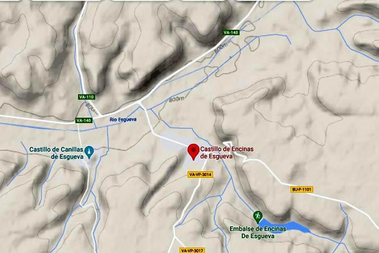 Situación del Castillo de Encinas de Esgueva. Valladolid(Google maps 2021-08-03)
