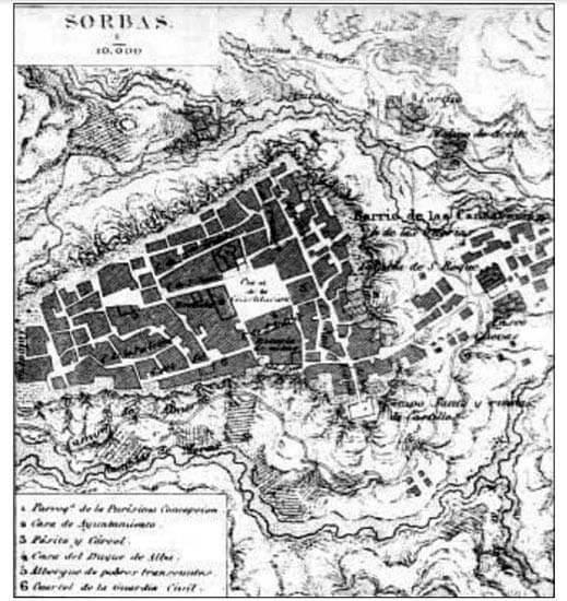 Sorbas. Almeria. Plano historico
