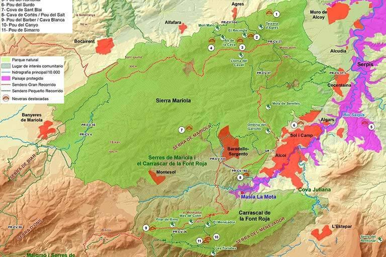 Alcoi, Serra Mariola y Serra de la Font Roja mapa
