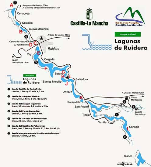 Lagunas de Ruidera con indicación de senderos