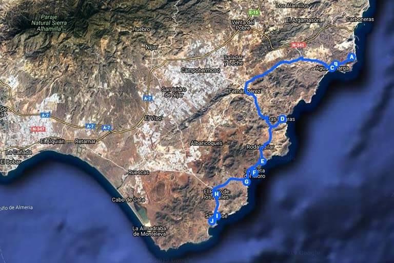 Ruta Cabo de Gata (Google maps 2019-07-22)