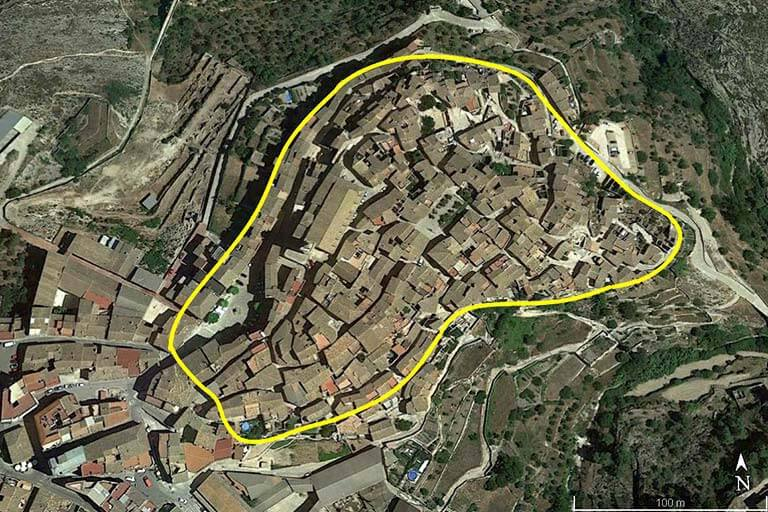 Bocairent Estimacion del trazado medieval (Google earth 2020-02-18)