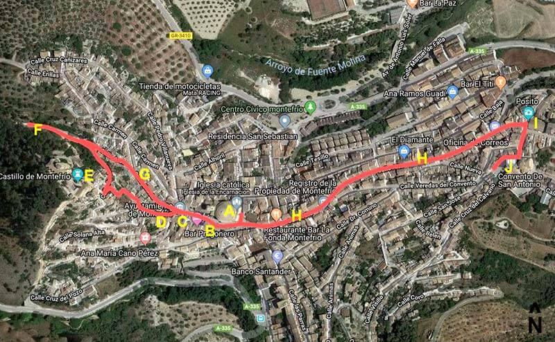 Montefrío Itinerario (Google maps 22019-01-10)
