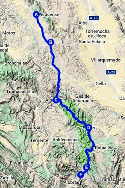 Ruta a peu Parc Cultural de Albarracin(Google maps 2018-12-27)