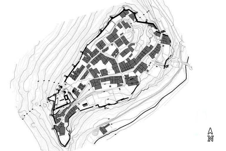 Calatañazor, Soria.. Documentacion tecnica muralla calatanazor, plano curvas municipio licitaciones