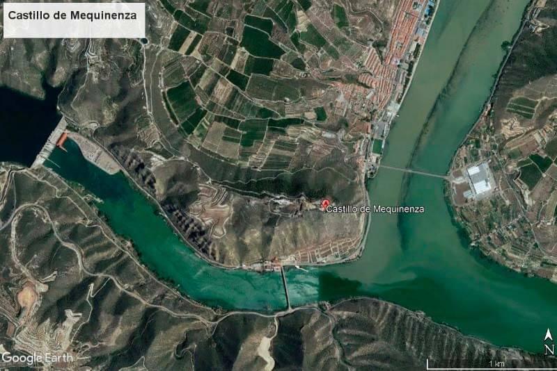 Posición del Castillo de Mequinenza (Google earth 2018-05-27)