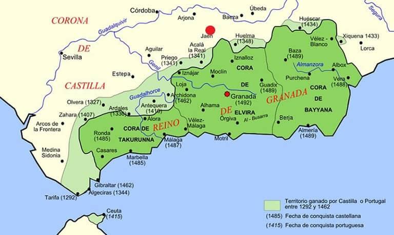 Posicion de Jaen con el Reino de Granada (Wikipedia commons)
