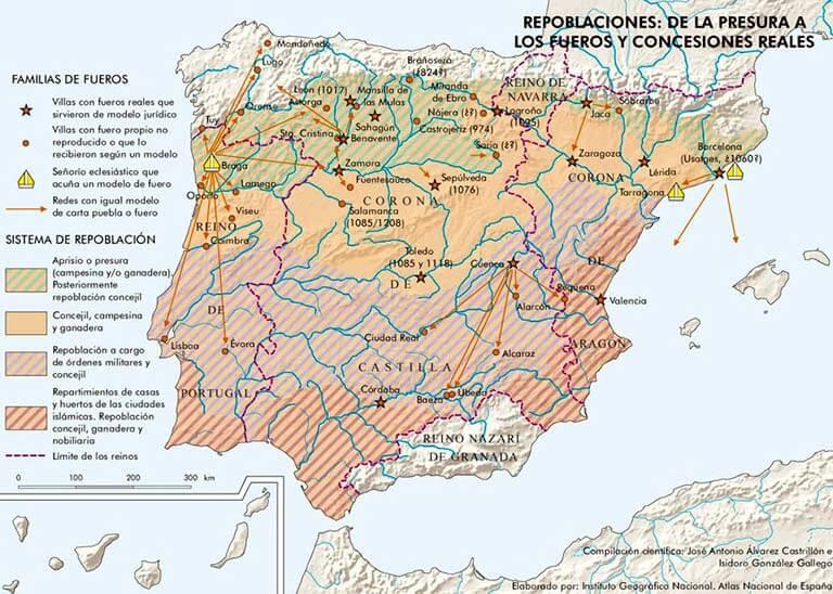 Espana Repoblaciones de la presura a los-fueros y concesiones reales -1250 IGN
