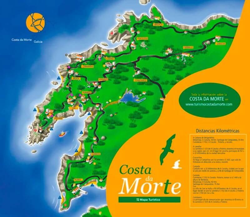 Mapa turístico de la Costa da Morte
