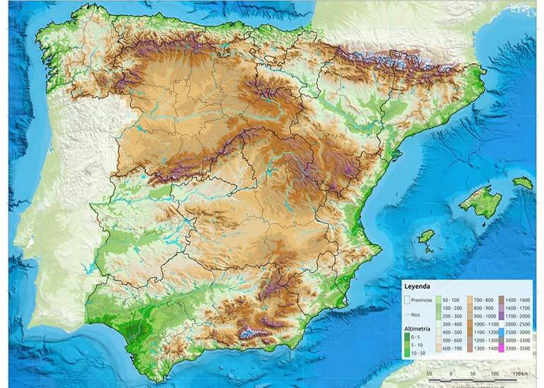 espana relieve y CCAA Educacion forestal