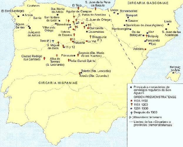 Mapa implantació dels Premonstratencs